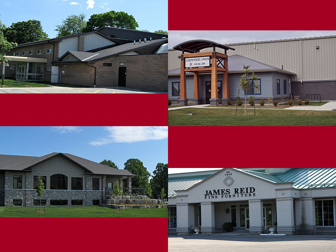 Harold Harvey Arena 2011 |  Carpenter's Union Hall 2008 | Cataraqui Dental Clinic 2012 |  James Reid Ferniture 2003